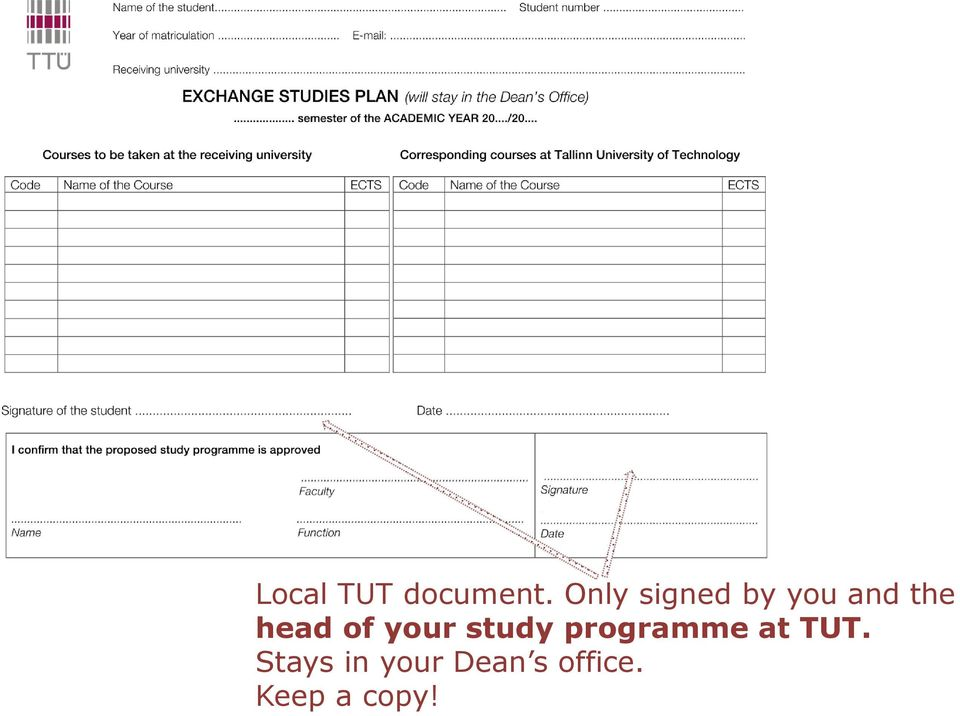 of your study programme at TUT.
