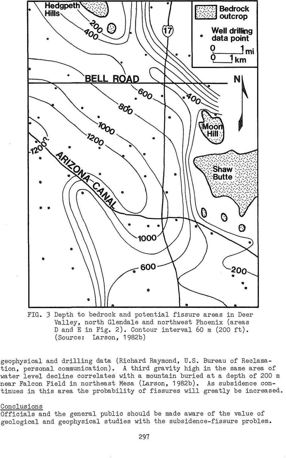 A third gravity high in the same area of water level decline correlates with a mountain buried at a depth of 200 m near Falcon Field in northeast Mesa (Larson, 1982b).