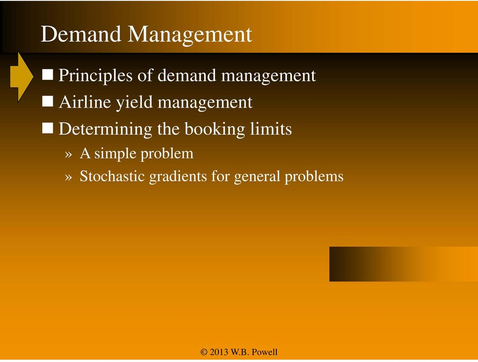 Determining the booking limits» A simple