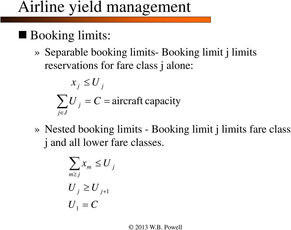 alone:» Nested booking limits - Booking limit limits fare