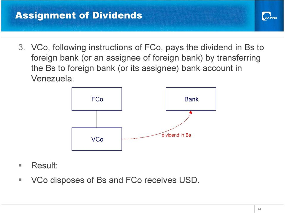 bank (or an assignee of foreign bank) by transferring the Bs to foreign