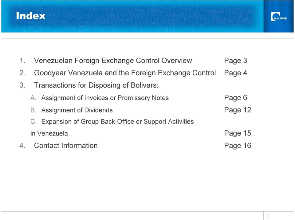 Transactions for Disposing of Bolivars: A.