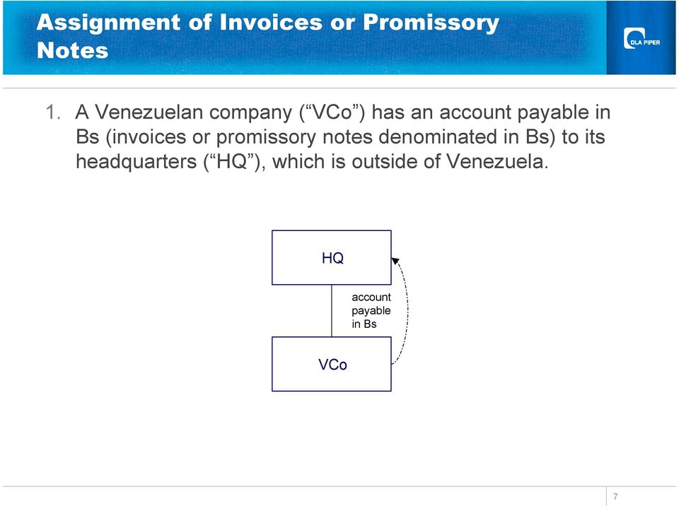 (invoices or promissory notes denominated in Bs) to its