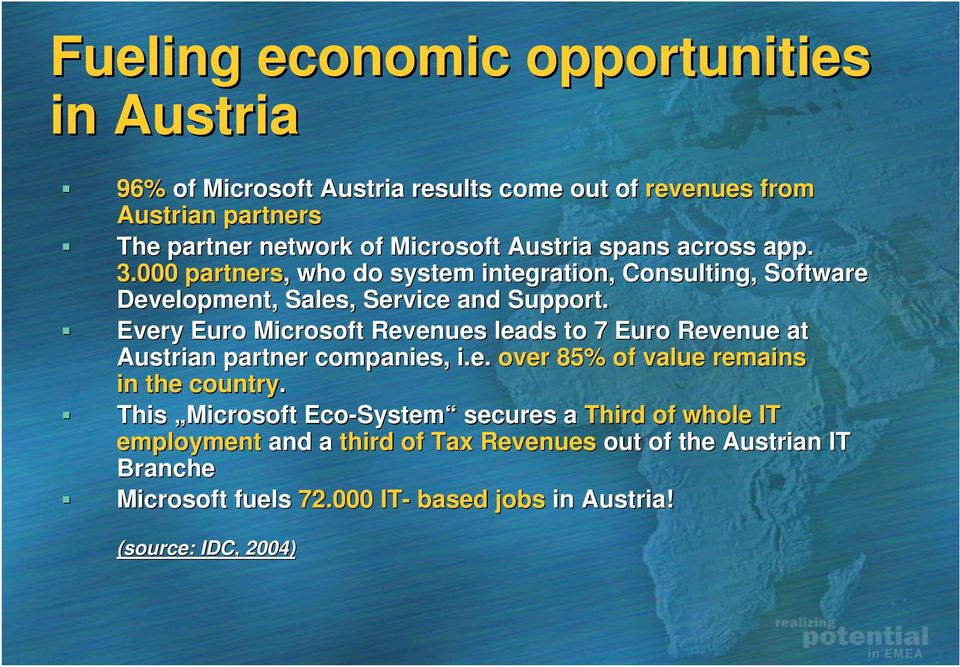 Every Euro Microsoft Revenues leads to 7 Euro Revenue at Austrian partner companies, i.e. over 85% of value remains in the country.