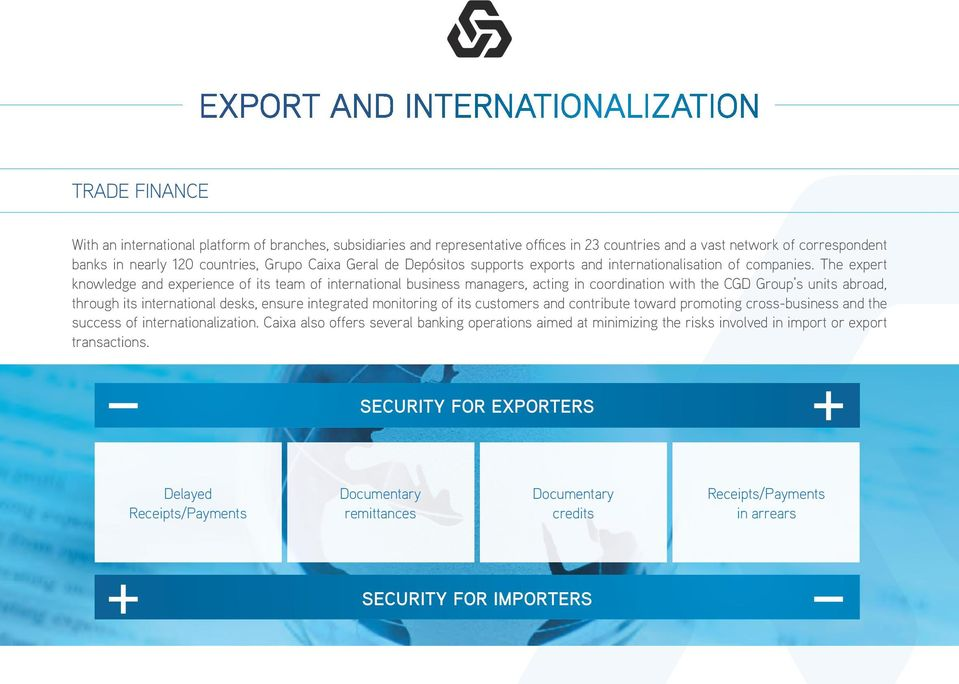 The expert knowledge and experience of its team of international business managers, acting in coordination with the CGD Group s units abroad, through its international desks, ensure integrated
