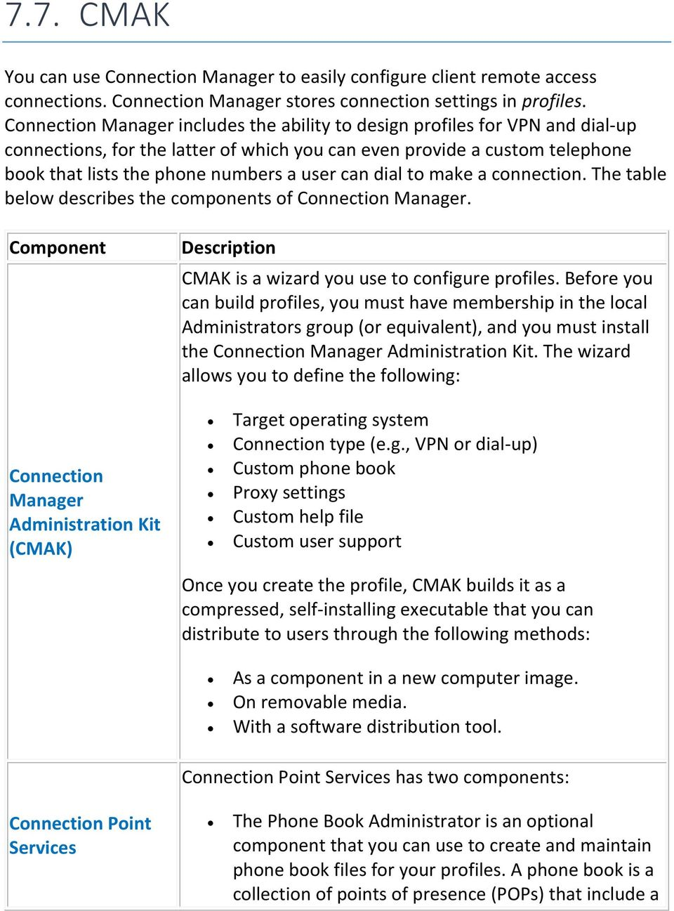 can dial to make a connection. The table below describes the components of Connection Manager.