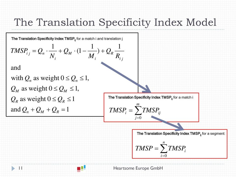 1 N i + Q R + Q R M M = 1 1, 1 (1 n 1, 1 M i ) + Q R 1 R i j The Translation Specificity Index TMSP ij for