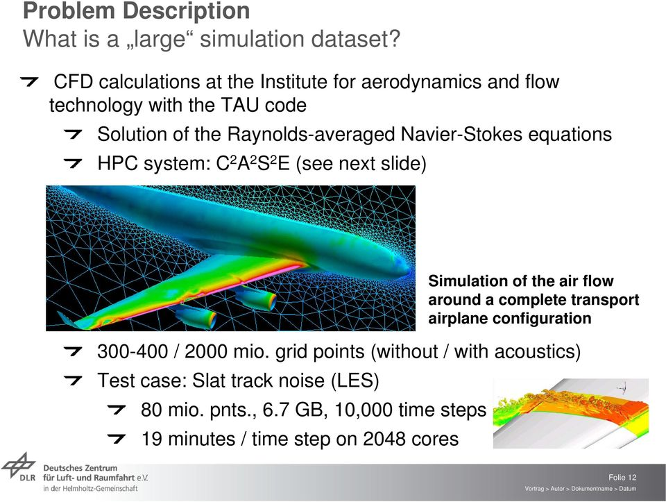Navier-Stokes equations HPC system: C 2 A 2 S 2 E (see next slide) Simulation of the air flow around a complete transport