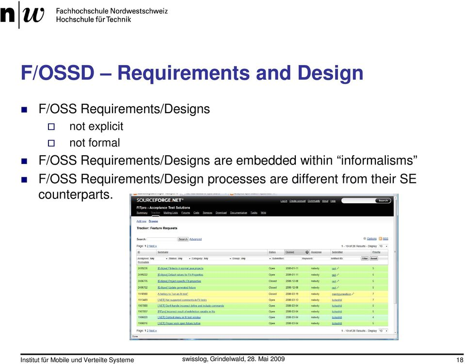 within informalisms F/OSS Requirements/Design processes are
