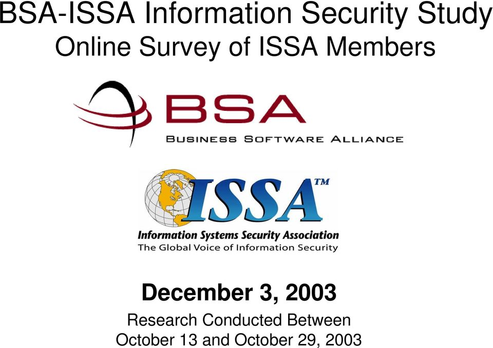 December 3, 2003 Research Conducted