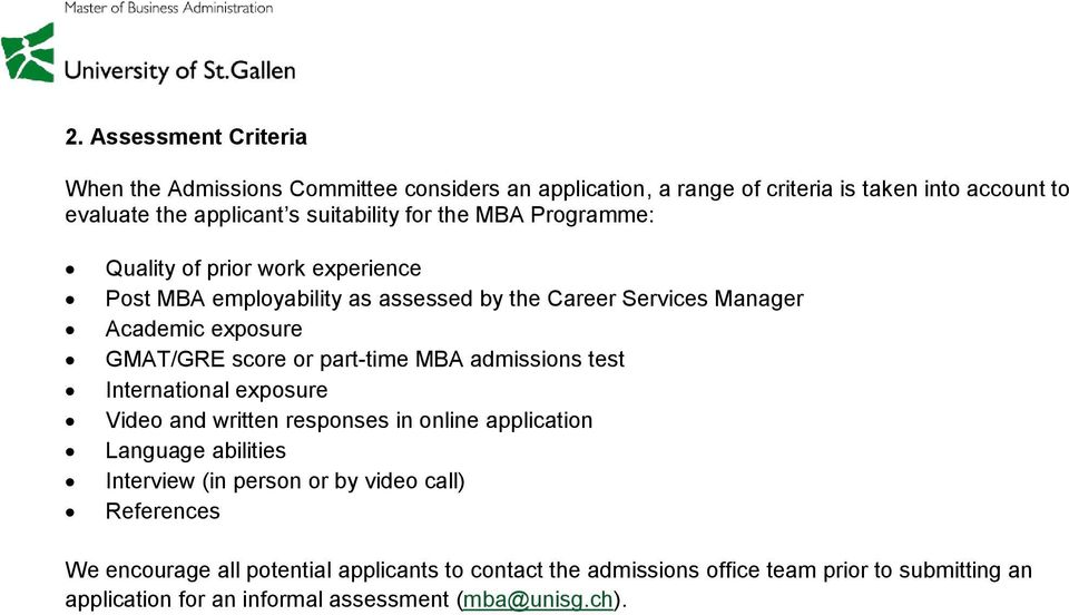part-time MBA admissions test International exposure Video and written responses in online application Language abilities Interview (in person or by video call)