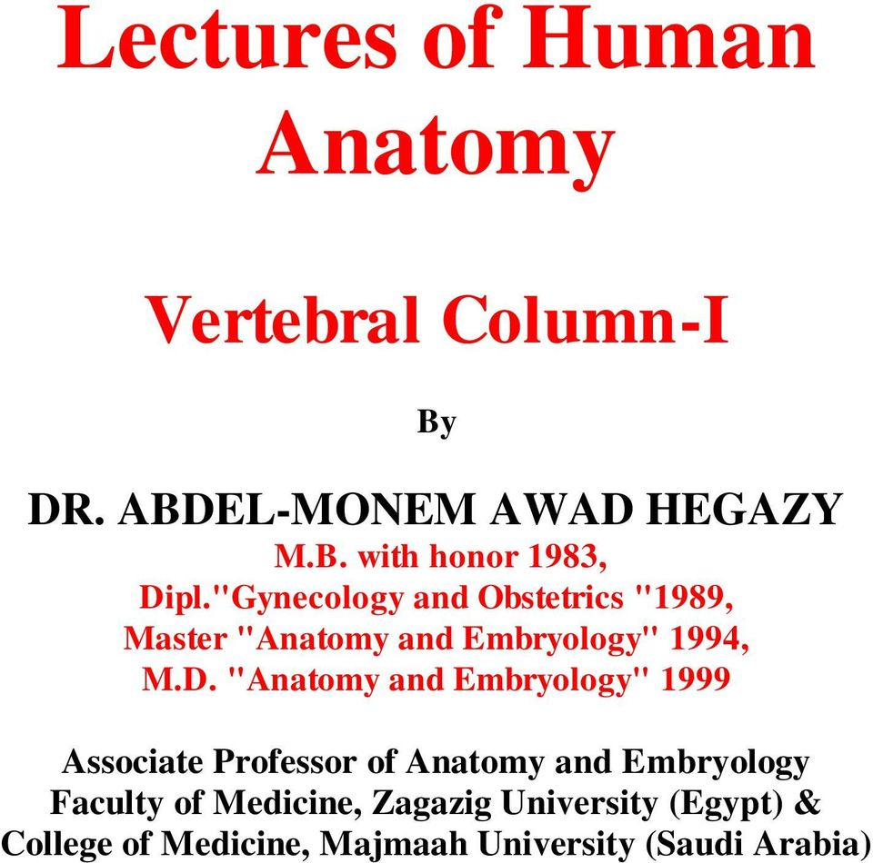 """Anatomy and Embryology"" 1999 Associate Professor of Anatomy and Embryology Faculty of"