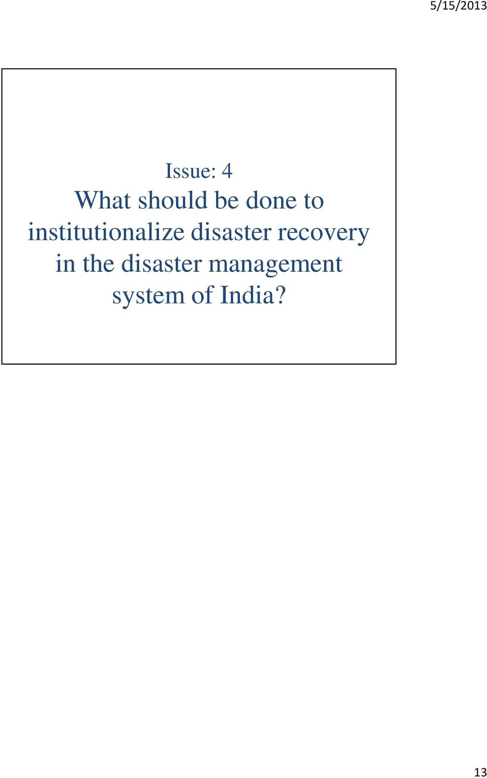 disaster recovery in the