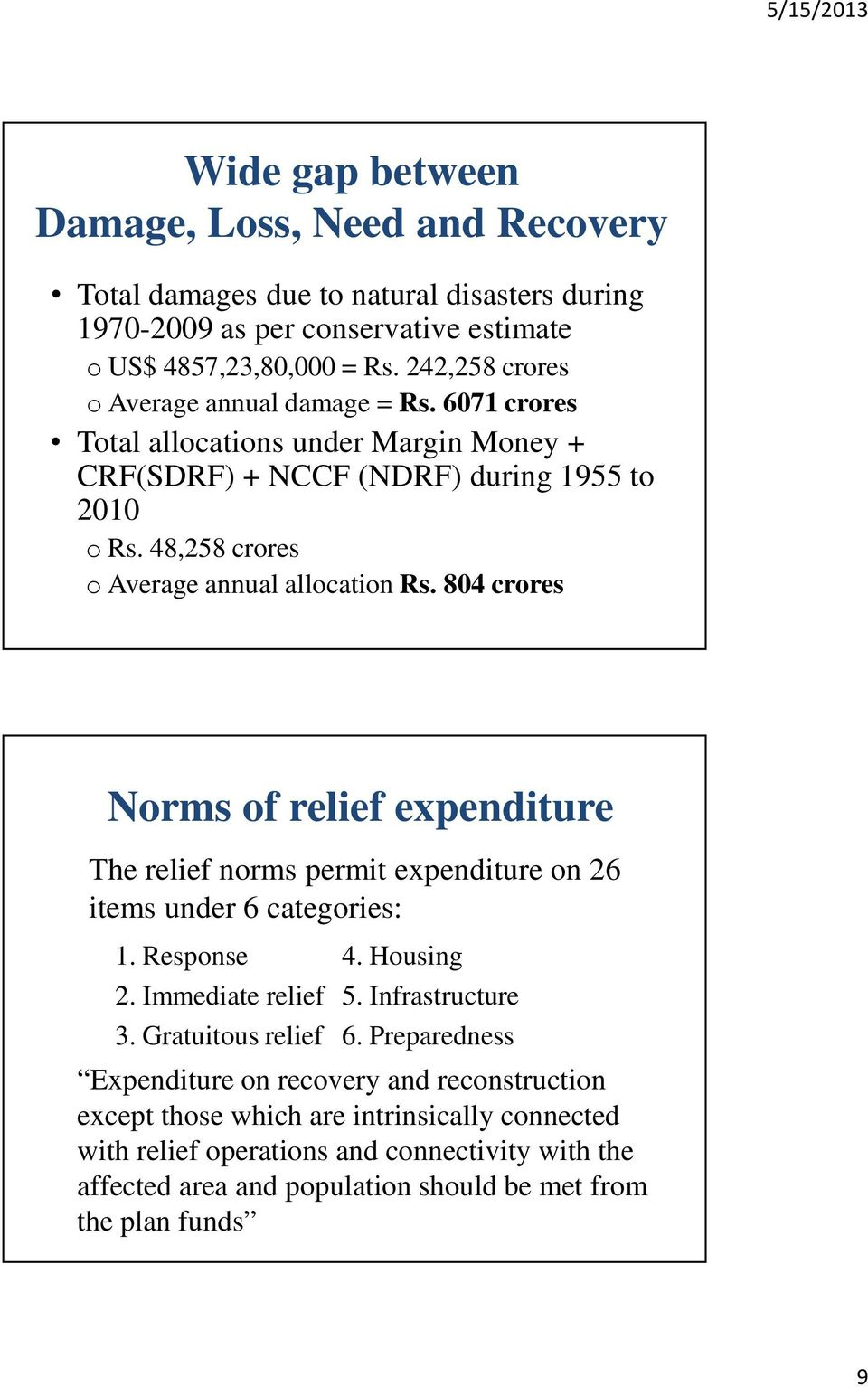 804 crores Norms of relief expenditure The relief norms permit expenditure on 26 items under 6 categories: 1. Response 4. Housing 2. Immediate relief 5. Infrastructure 3. Gratuitous relief 6.