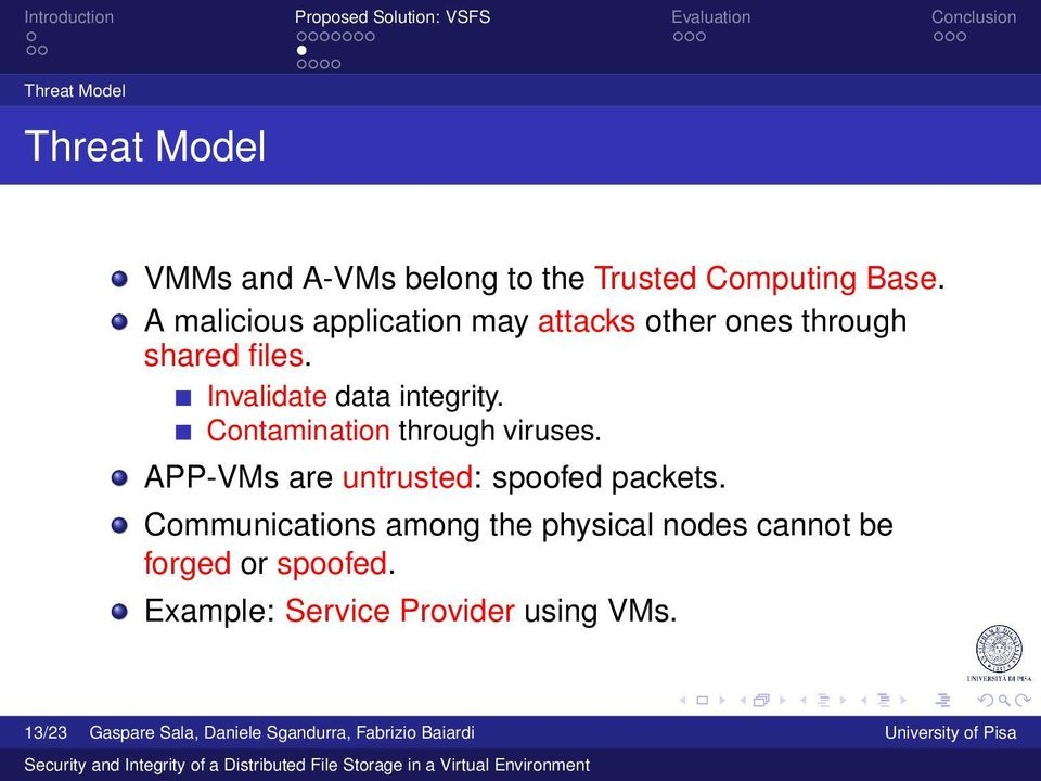 Contamination through viruses. APP-VMs are untrusted: spoofed packets.