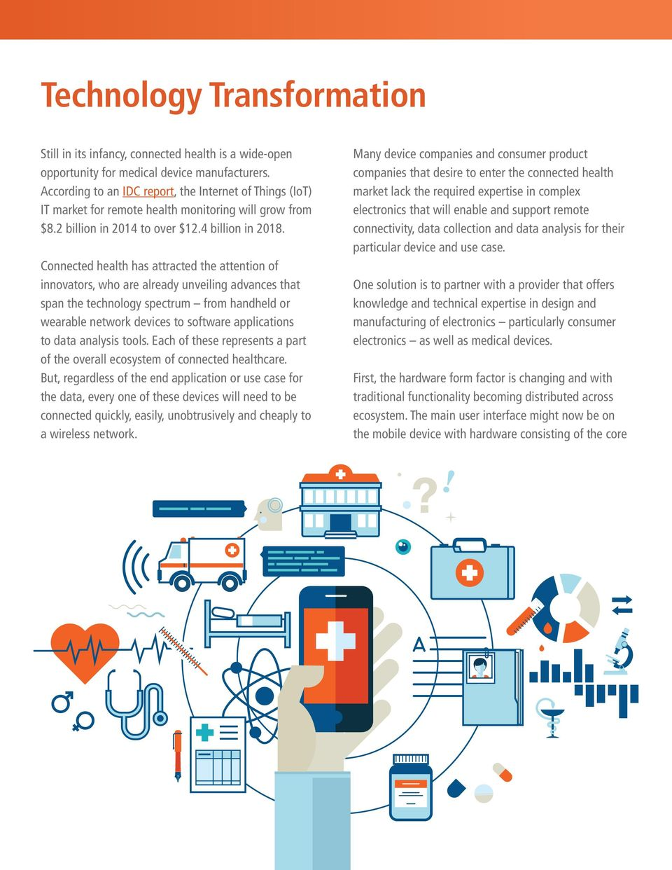 Connected health has attracted the attention of innovators, who are already unveiling advances that span the technology spectrum from handheld or wearable network devices to software applications to