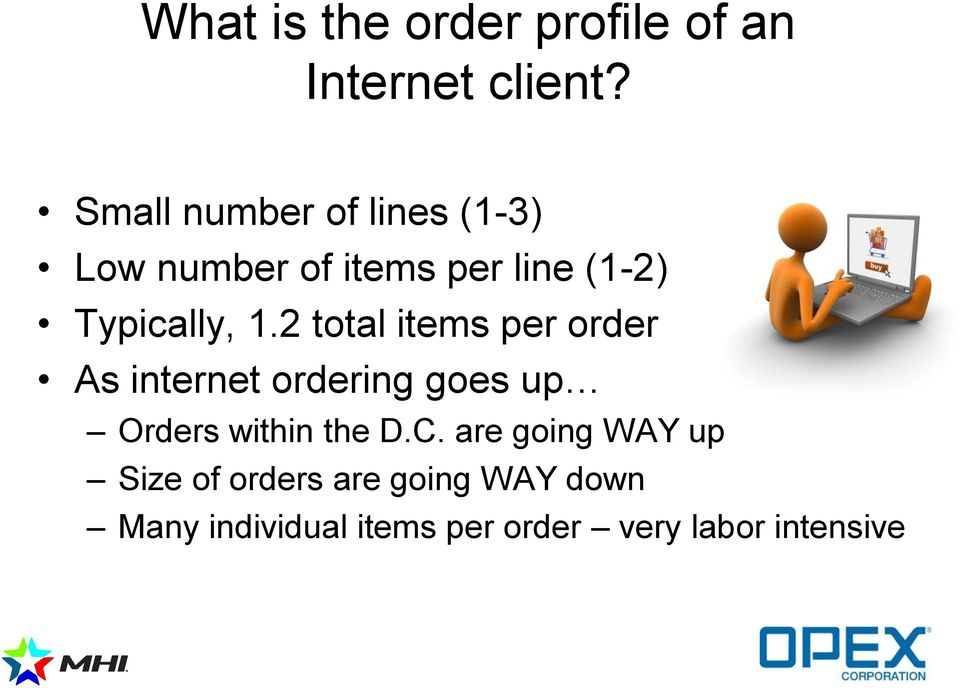 2 total items per order As internet ordering goes up Orders within the D.C.