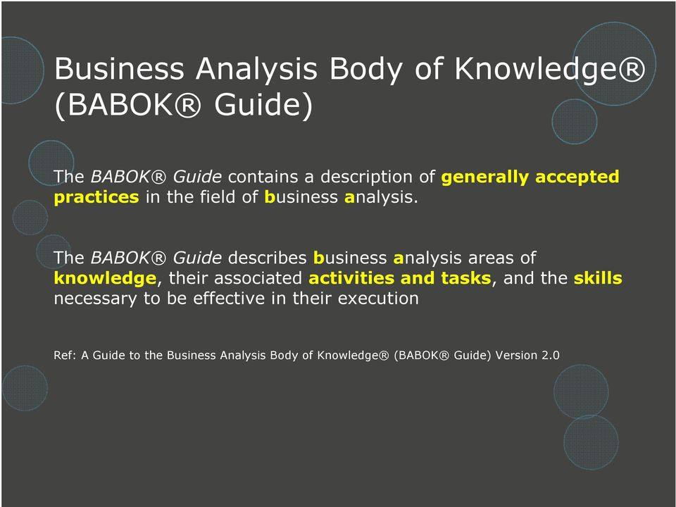 The BABOK Guide describes business analysis areas of knowledge, their associated activities and