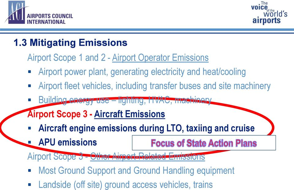 Airport Scope 3 - Aircraft Emissions Aircraft engine emissions during LTO, taxiing and cruise APU emissions Airport Scope 3 -