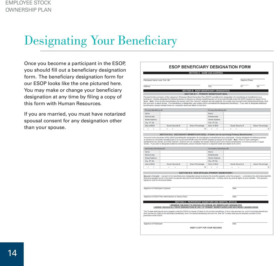 The beneficiary designation form for our ESOP looks like the one pictured here.