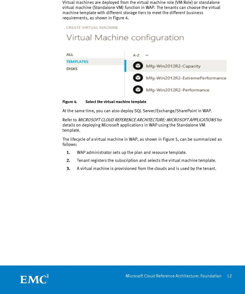 Figure 4. Select the virtual machine template At the same time, you can also deploy SQL Server/Exchange/SharePoint in WAP.