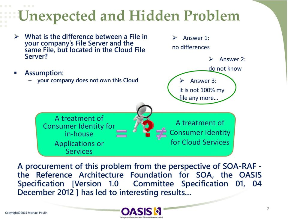 Consumer Identity for in house Applications or Services A treatment of Consumer Identity for Cloud Services A procurement of this problem from the perspective