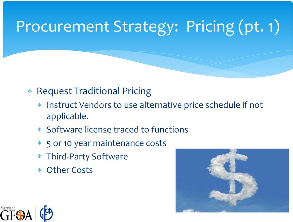 alternative price schedule if not applicable.