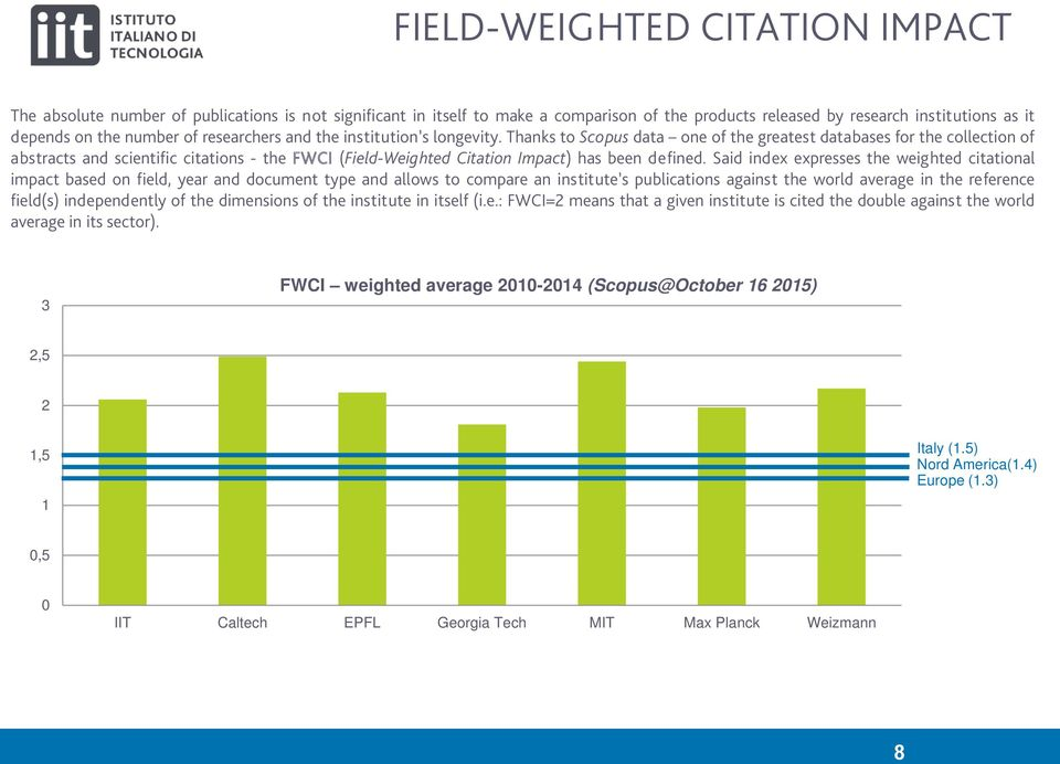 Thanks to Scopus data one of the greatest databases for the collection of abstracts and scientific citations - the FWCI (Field-Weighted Citation Impact) has been defined.