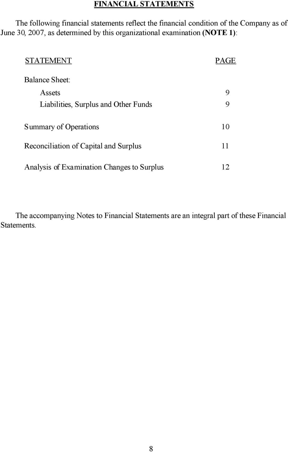 Surplus and Other Funds 9 Summary of Operations 10 Reconciliation of Capital and Surplus 11 Analysis of Examination