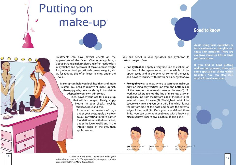 As for fatigue, this often leads to rings under the eyes. Make-up can help you look healthier and more rested.
