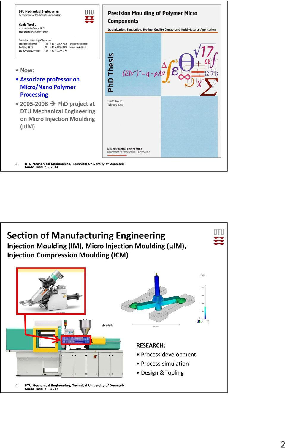 Manufacturing Engineering Injection Moulding (IM), Micro Injection Moulding (µim), Injection Compression Moulding