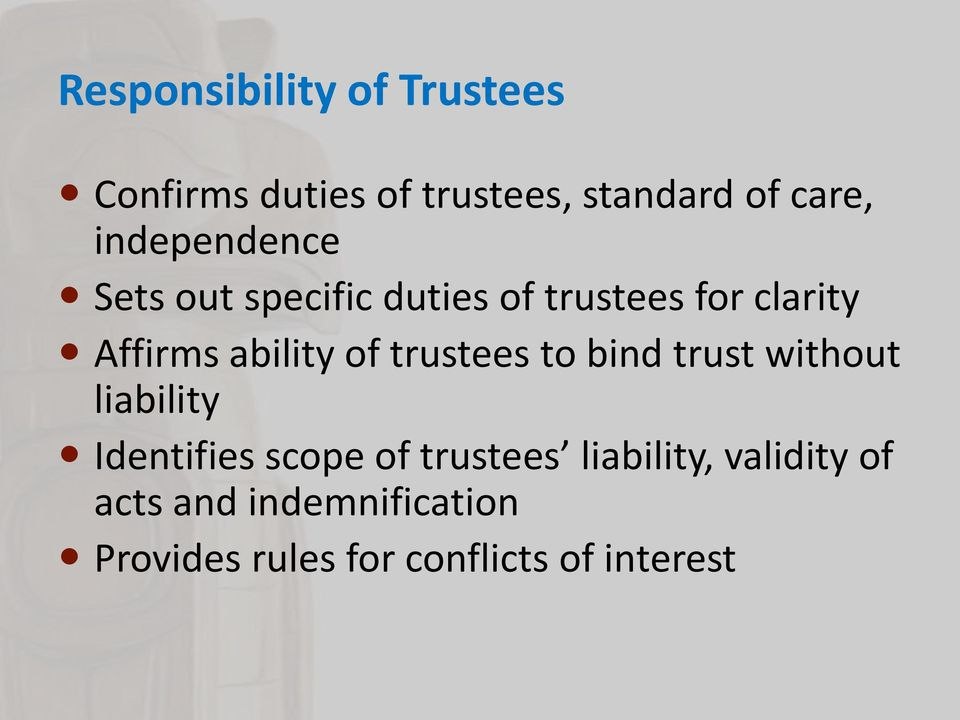 of trustees to bind trust without liability Identifies scope of trustees