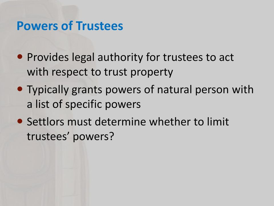 powers of natural person with a list of specific powers