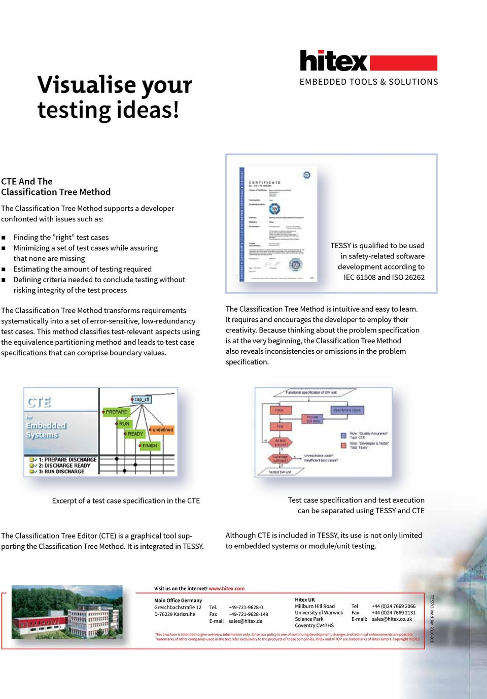 that none are missing Estimating the amount of testing required Defining criteria needed to conclude testing without risking integrity of the test process The Classification Tree Method transforms