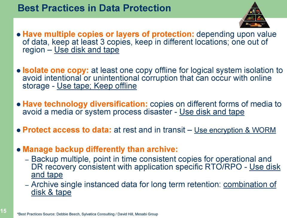 diversification: copies on different forms of media to avoid a media or system process disaster - Use disk and tape Protect access to data: at rest and in transit Use encryption & WORM Manage backup