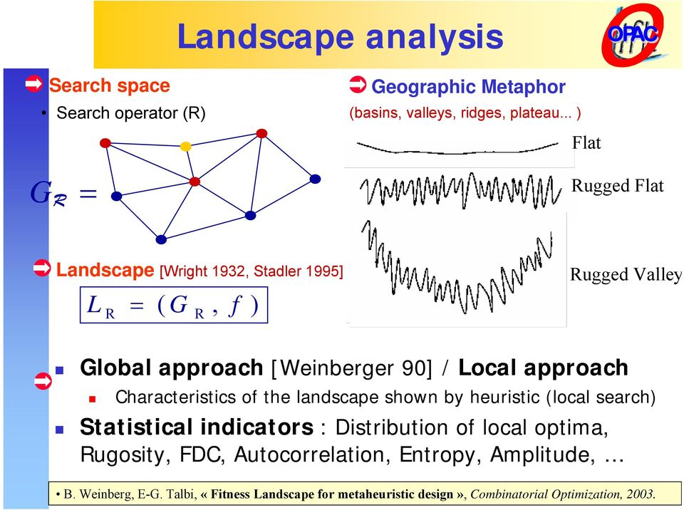 Local approach Characteristics of the landscape shown by heuristic (local search) Statistical indicators : Distribution of local