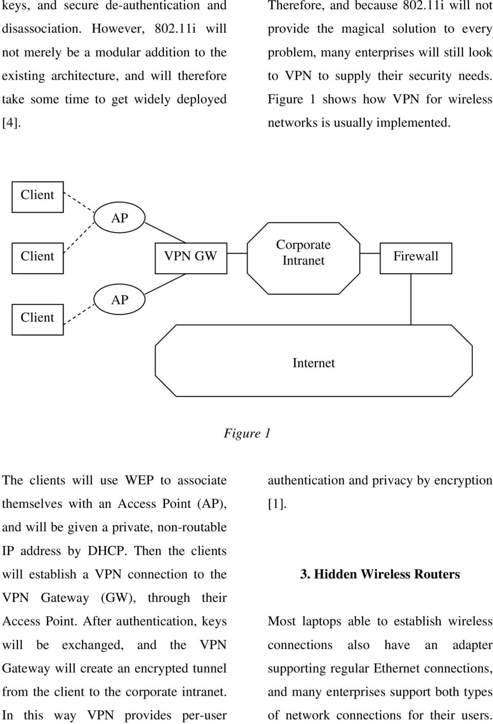 11i will not provide the magical solution to every problem, many enterprises will still look to VPN to supply their security needs. Figure 1 shows how VPN for wireless networks is usually implemented.