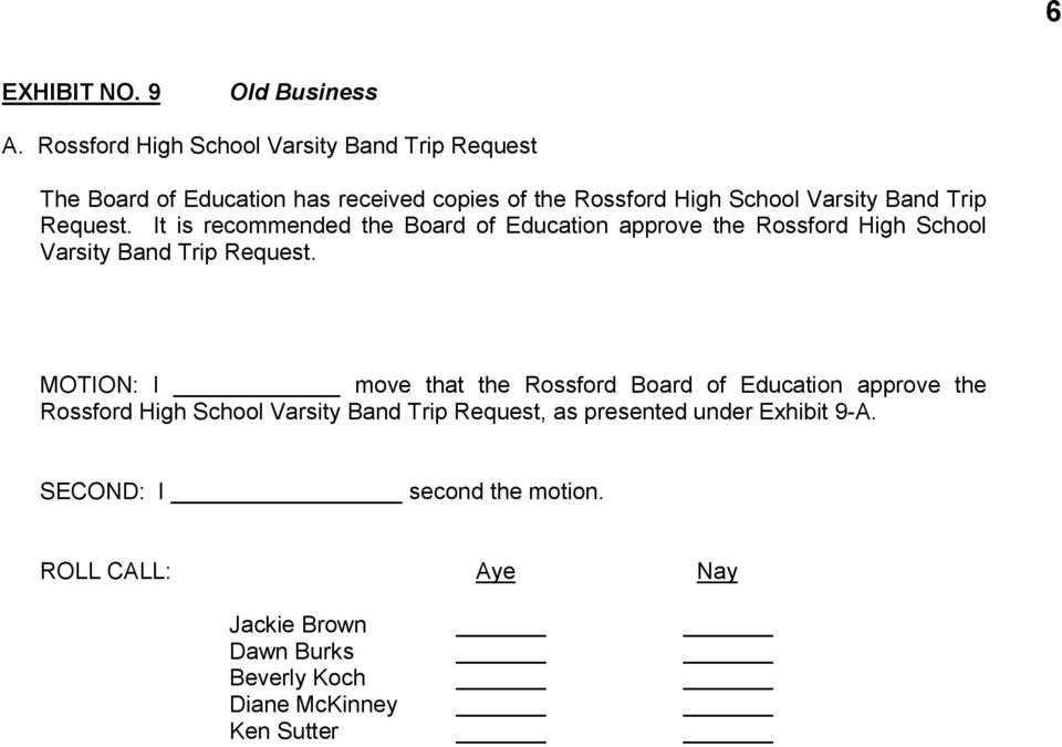High School Varsity Band Trip Request.