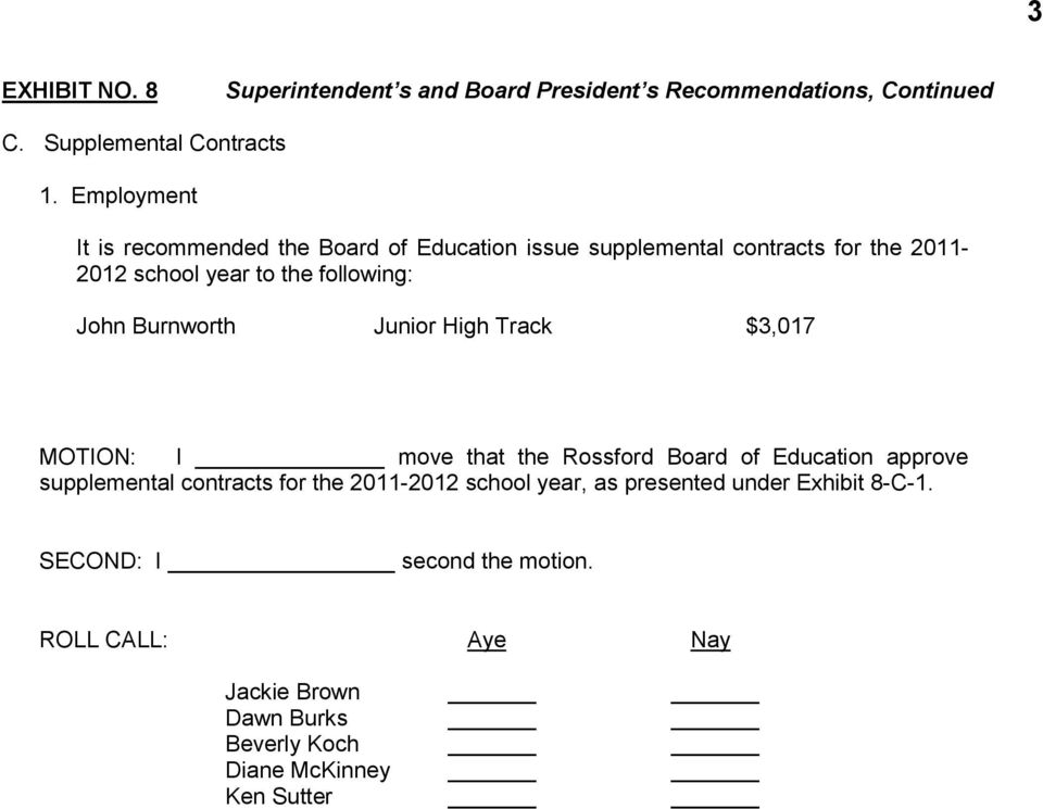 Employment It is recommended the Board of Education issue supplemental contracts for the 2011-2012 school