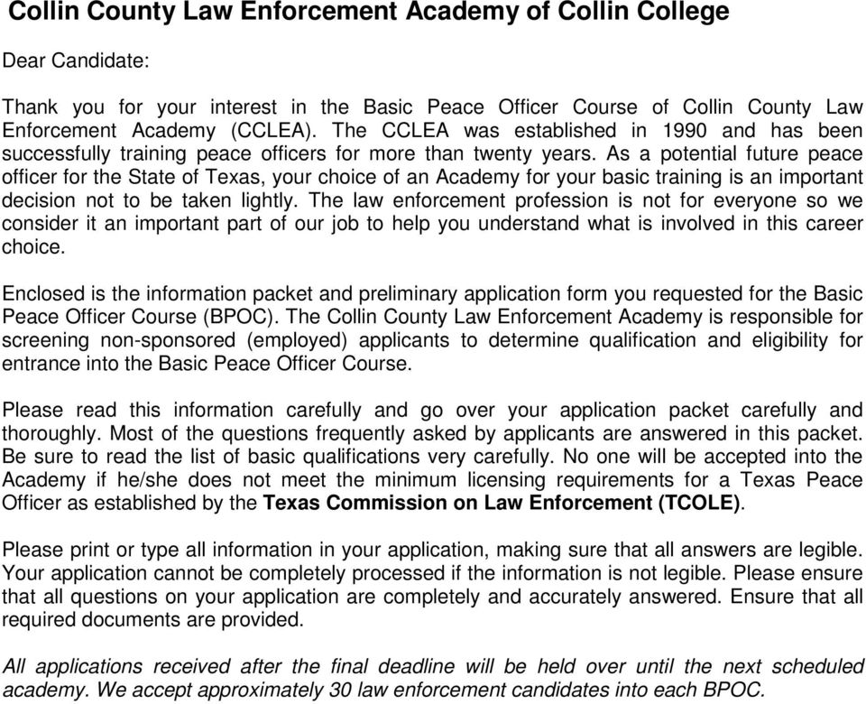 collin county law enforcement academy of collin college -