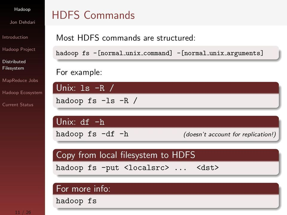 Unix: df -h hadoop fs -df -h (doesn t account for replication!