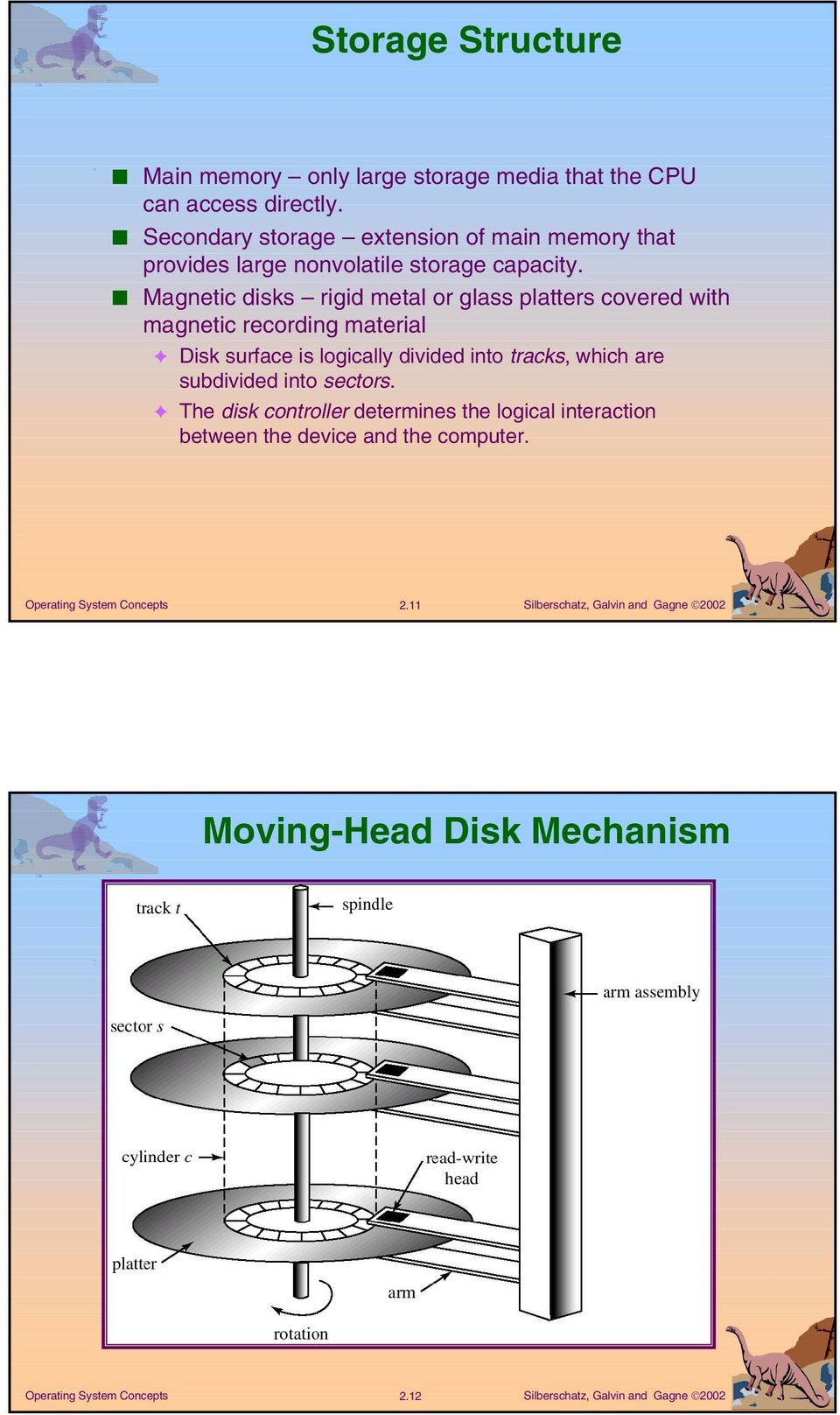 Magnetic disks rigid metal or glass platters covered with magnetic recording material Disk surface is logically divided