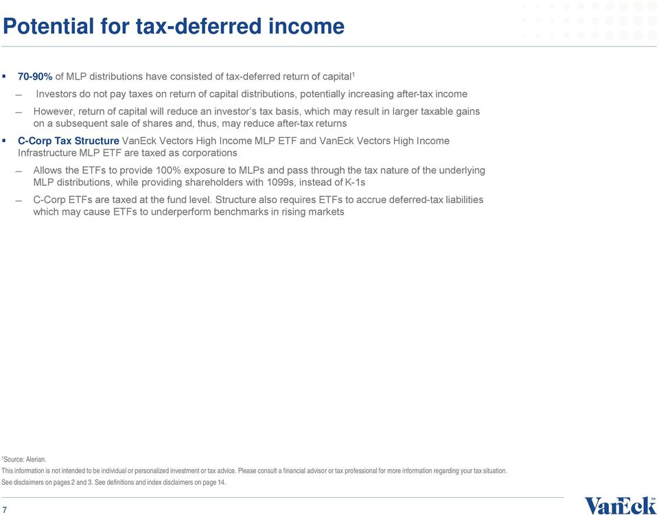 Tax Structure VanEck Vectors High Income MLP ETF and VanEck Vectors High Income Infrastructure MLP ETF are taxed as corporations Allows the ETFs to provide 100% exposure to MLPs and pass through the