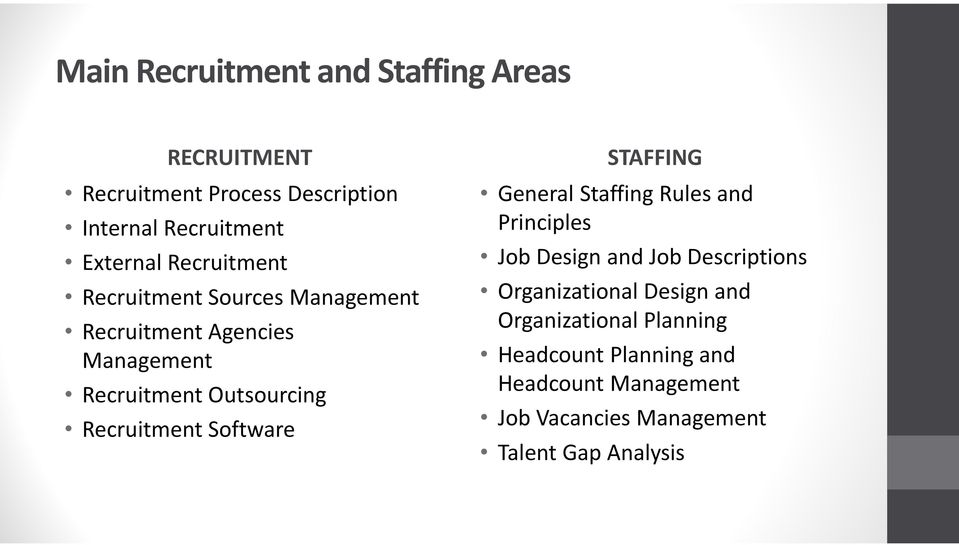 Software STAFFING General Staffing Rules and Principles Job Design and Job Descriptions Organizational Design