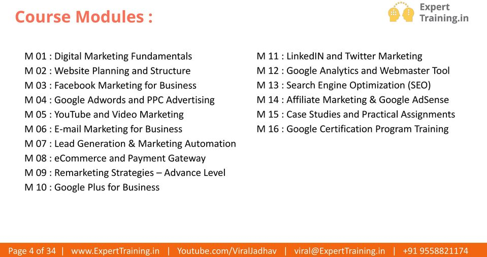 M 04 : Google Adwords and PPC Advertising M 05 : YouTube and Video Marketing M 06 : E-mail Marketing for Business M 07 : Lead Generation & Marketing Automation M 08 : ecommerce and Payment Gateway M