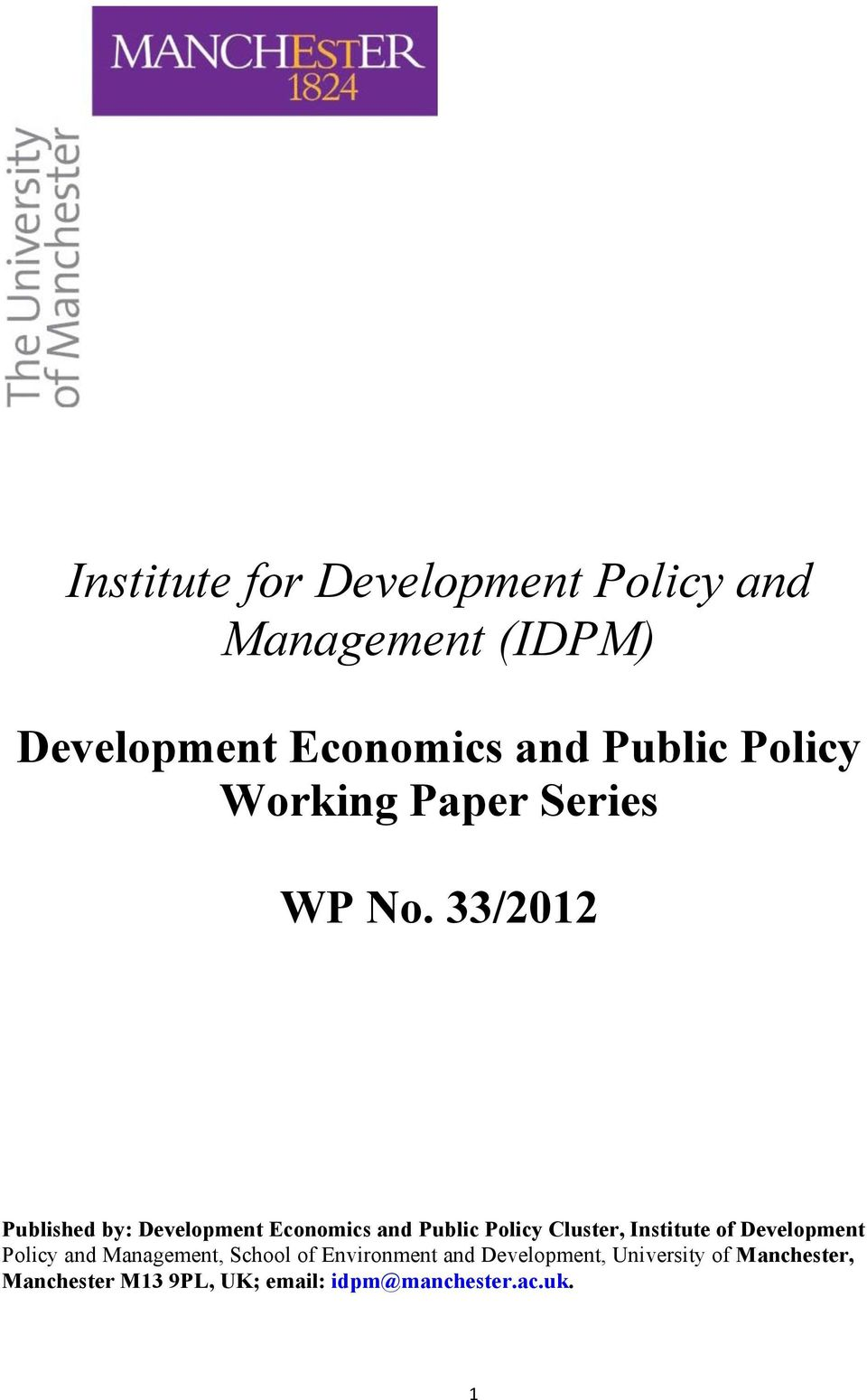 33/212 Published by: Development Economics and Public Policy Cluster, Institute of