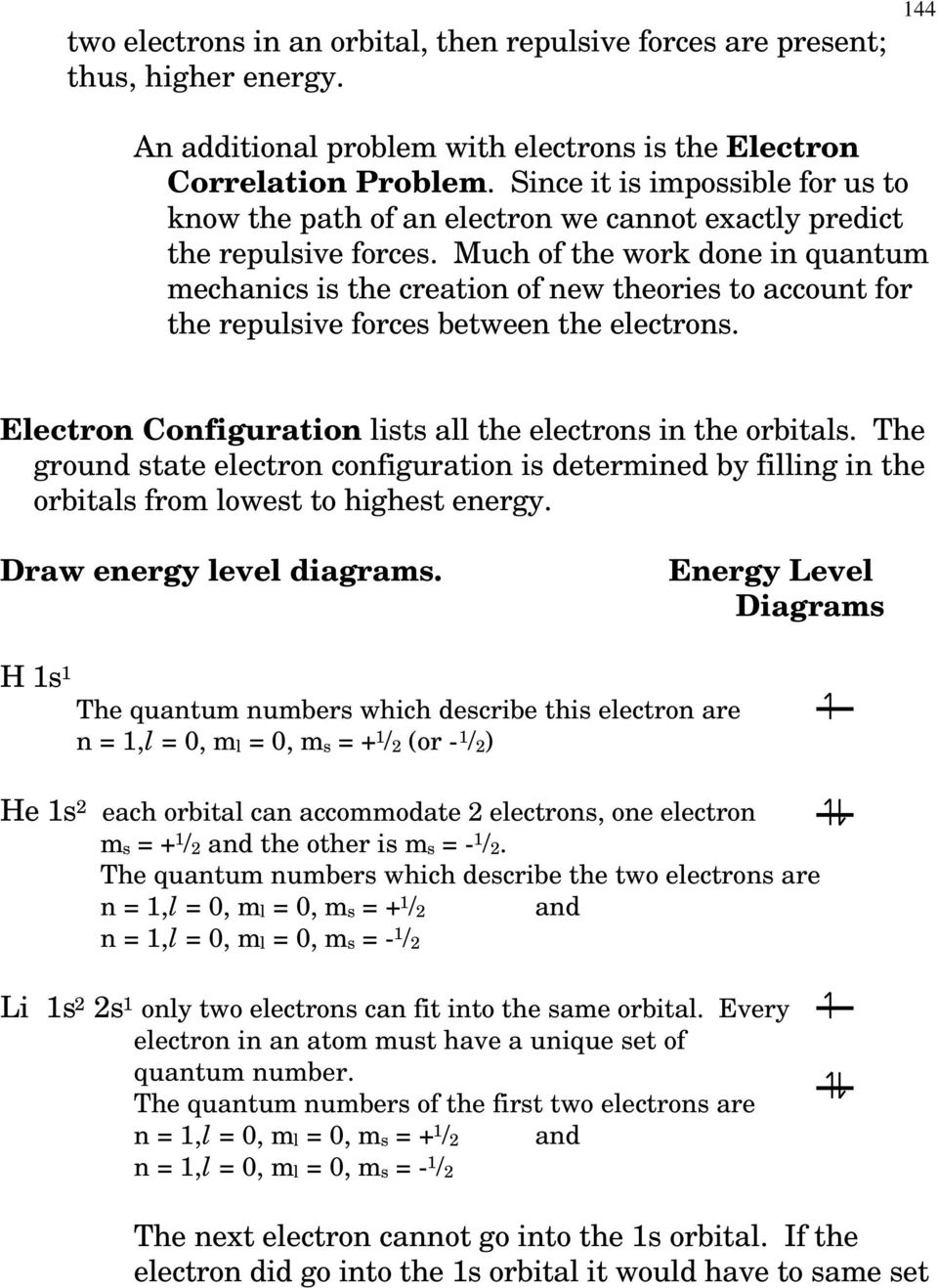 Much of the work done in quantum mechanics is the creation of new theories to account for the repulsive forces between the electrons. Electron Configuration lists all the electrons in the orbitals.