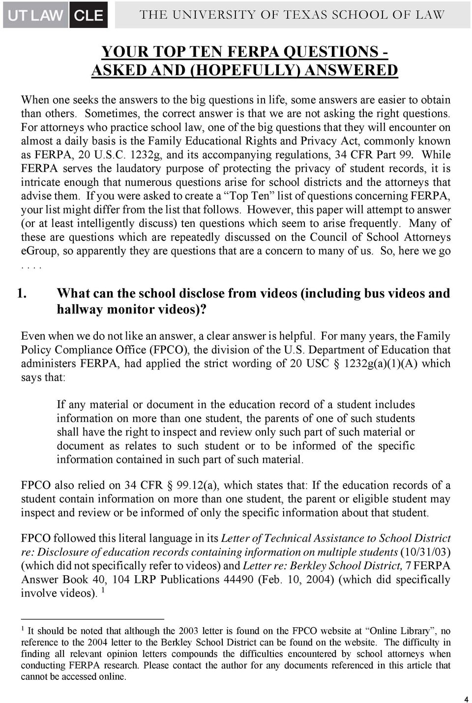 ferpa form ut austin  YOUR TOP TEN FERPA QUESTIONS ASKED AND (HOPEFULLY) ANSWERED ...