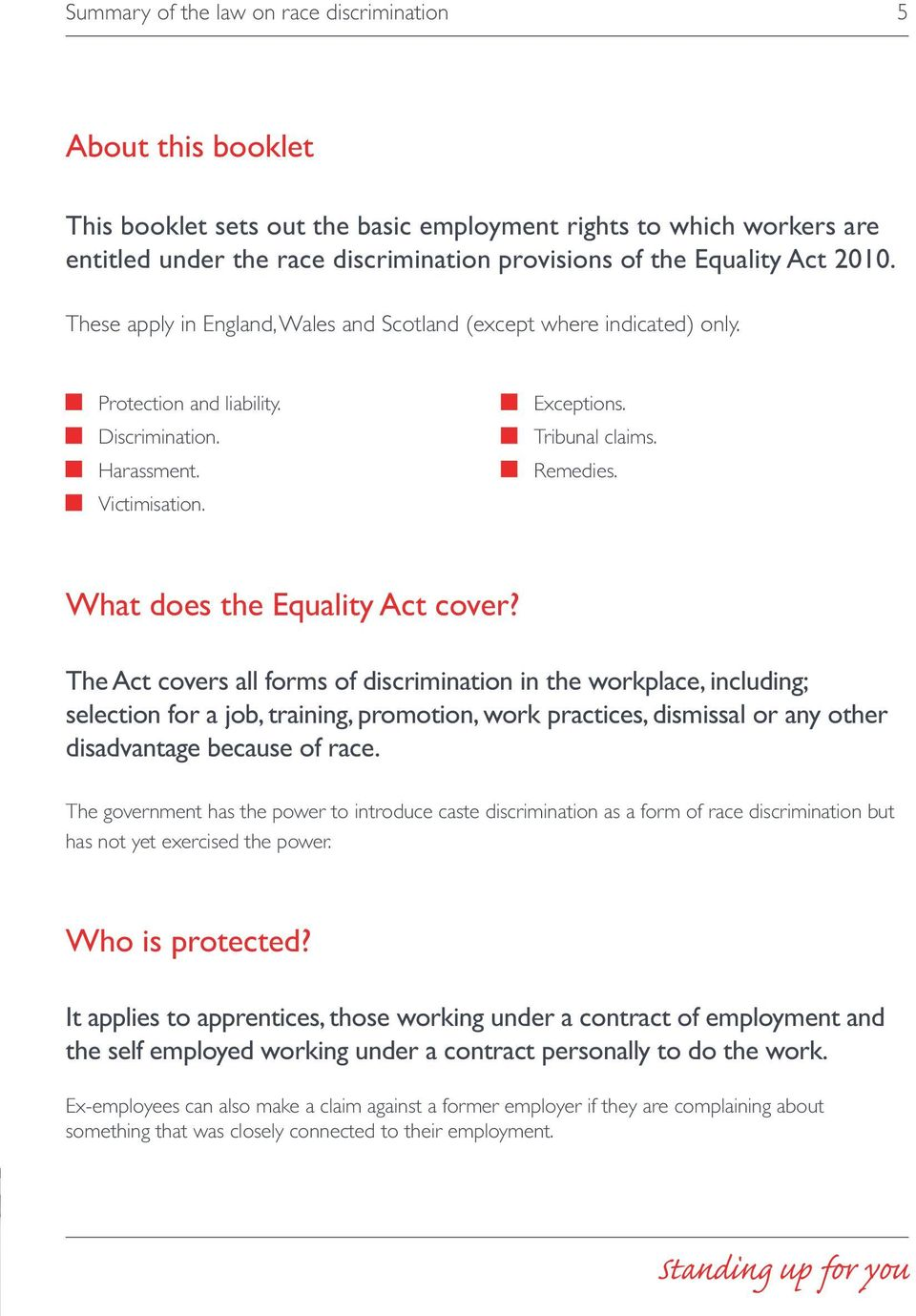 What does the Equality Act cover?