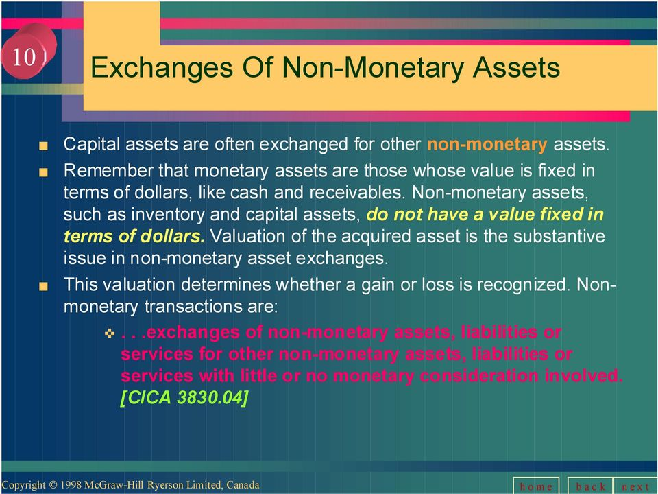 Non-monetary assets, such as inventory and capital assets, do not have a value fixed in terms of dollars.